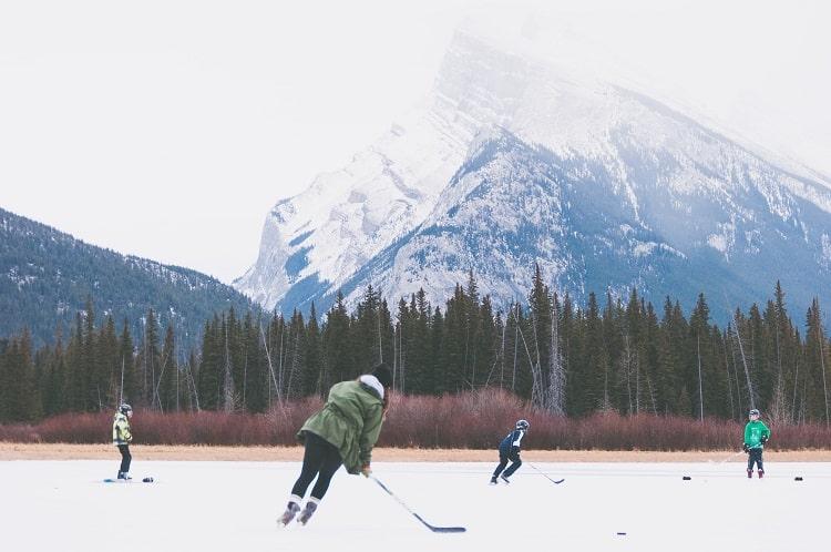 Hockey at Banff National Park Of Canada