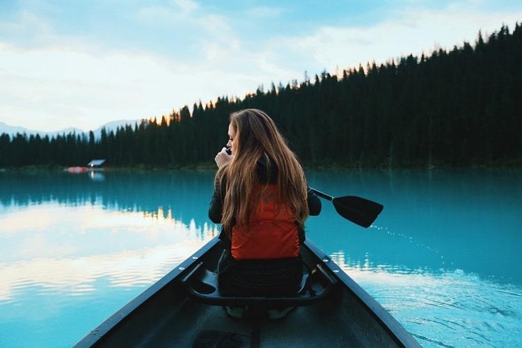 Kayaks at Lake Louise, Canada